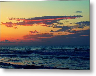 Cloudy Pink Ocean Metal Print by Candice Trimble