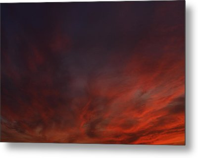 Cloudy Red Sunset Metal Print