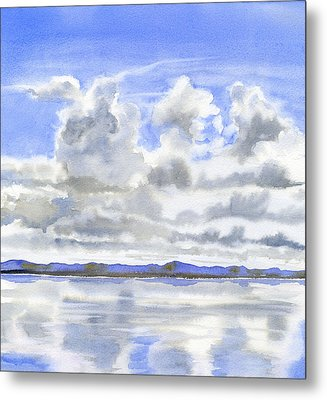 Cloudy Sky With Reflections Metal Print by Sharon Freeman