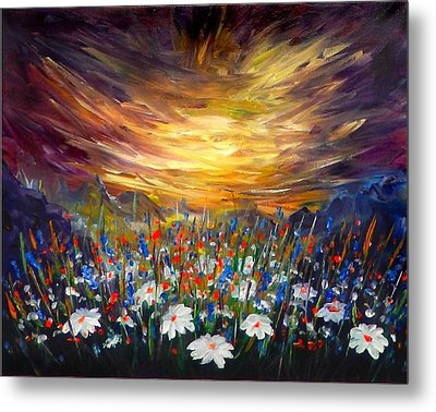 Metal Print featuring the painting Cloudy Sunset In Valley by Lilia D