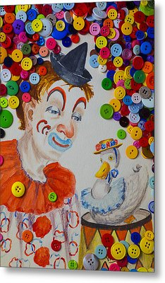 Clown And Duck With Buttons Metal Print by Garry Gay
