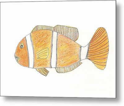 Metal Print featuring the drawing Clown Fish by Helen Holden-Gladsky