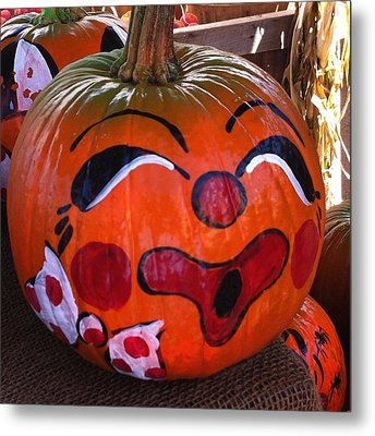 Clown Pumpkin Metal Print by Denyse Duhaime