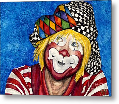Watercolor Clown #16 Ron Maslanka Metal Print by Patty Vicknair