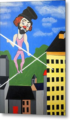Metal Print featuring the painting Clown Tight Roping by Nora Shepley