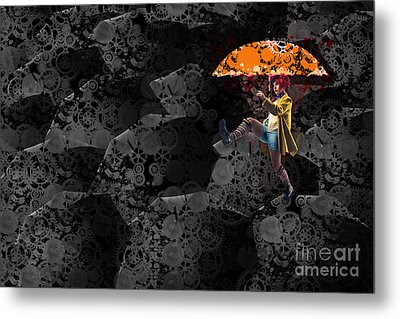 Clowning On Umbrellas 02 -a10a Metal Print by Variance Collections