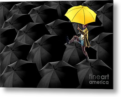 Clowning On Umbrellas 03-a13-1 Metal Print by Variance Collections