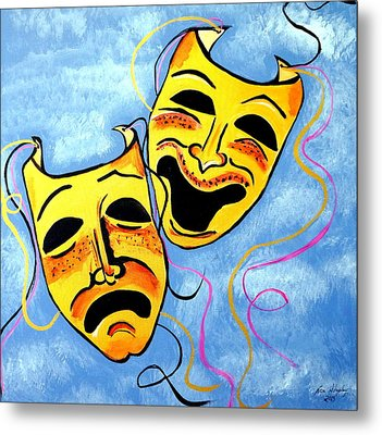 Metal Print featuring the painting Comedy And Tragedy by Nora Shepley