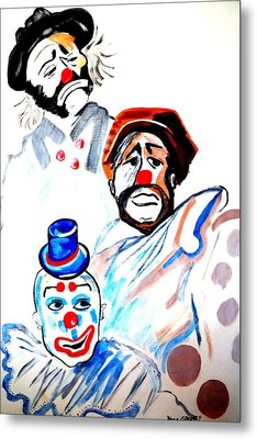 Metal Print featuring the painting Clowns In Heaven by Nora Shepley