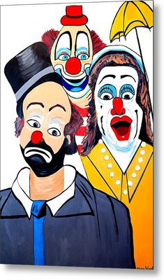 Metal Print featuring the painting Clowns In Shock by Nora Shepley