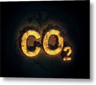 Co2 Symbol Burning Metal Print