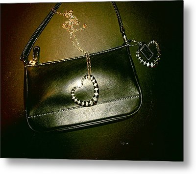 Coach Bag With Space Love Bling Metal Print by Robert Cunningham