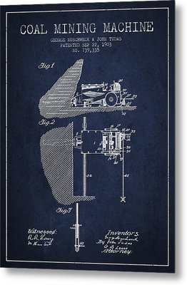 Coal Mining Machine Patent From 1903- Navy Blue Metal Print by Aged Pixel