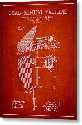 Coal Mining Machine Patent From 1903- Red Metal Print
