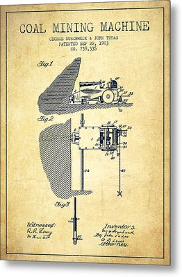 Coal Mining Machine Patent From 1903- Vintage Metal Print by Aged Pixel