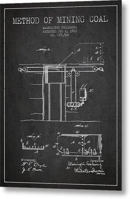 Coal Mining Patent From 1903- Charcoal Metal Print