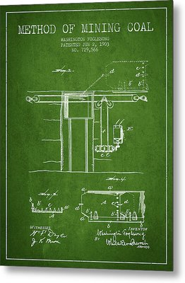 Coal Mining Patent From 1903- Green Metal Print by Aged Pixel