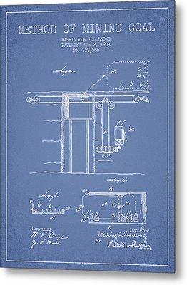 Coal Mining Patent From 1903- Light Blue Metal Print