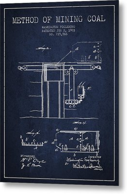 Coal Mining Patent From 1903- Navy Blue Metal Print