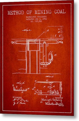 Coal Mining Patent From 1903- Red Metal Print