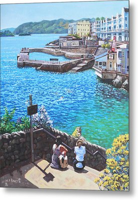 Coast Of Plymouth City Uk Metal Print by Martin Davey