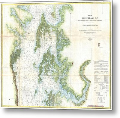 Coast Survey Chart Or Map Of The Chesapeake Bay Metal Print