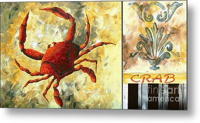 Coastal Crab Decorative Painting Original Art Coastal Luxe Crab By Madart Metal Print by Megan Duncanson