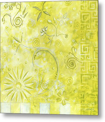 Coastal Decorative Citron Green Floral Greek Checkers Pattern Art Green Whimsy By Madart Metal Print by Megan Duncanson