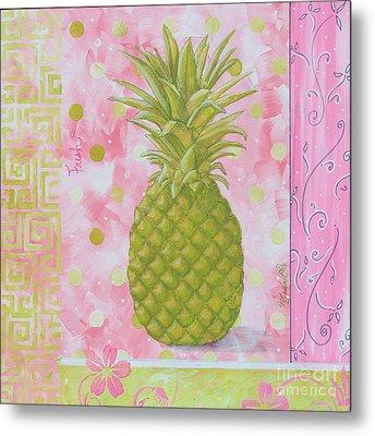 Coastal Decorative Pink Green Floral Greek Pattern Fruit Art Fresh Pineapple By Madart Metal Print by Megan Duncanson