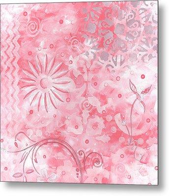 Coastal Decorative Pink Peach Floral Chevron Pattern Art Pink Whimsy By Madart Metal Print by Megan Duncanson