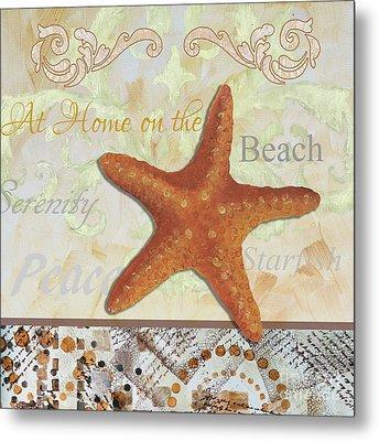 Coastal Decorative Starfish Painting Decorative Art By Megan Duncanson Metal Print by Megan Duncanson