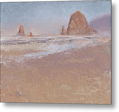 Coastal Escape  Cannon Beach Oregon And Haystack Rock  Metal Print by Karen Whitworth