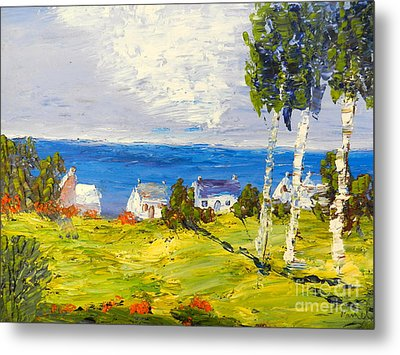 Metal Print featuring the painting Coastal Fishing Village by Pamela  Meredith