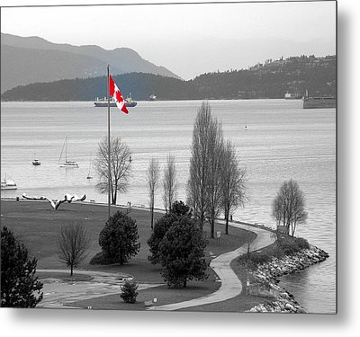 Coastal Canadian Flag Metal Print by Brian Chase