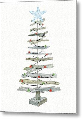 Coastal Holiday Tree IIi Red Metal Print by Kathleen Parr Mckenna