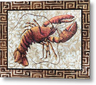 Coastal Lobster Decorative Painting Greek Border Design By Madart Studios Metal Print by Megan Duncanson