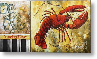 Coastal Lobster Decorative Painting Original Art Coastal Luxe Lobster By Madart Metal Print by Megan Duncanson