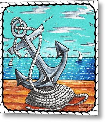 Coastal Nautical Decorative Art Original Painting Anchor Rope And Dock Anchors Away By Madart Metal Print