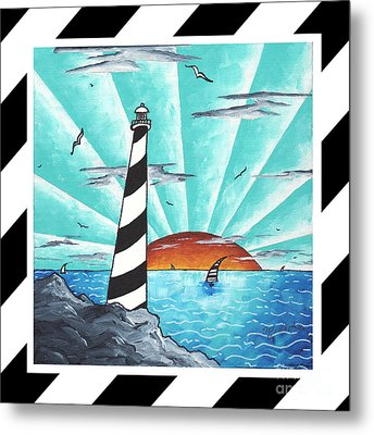 Coastal Nautical Decorative Art Original Painting Stripes Light House Seeking The Light By Madart Metal Print