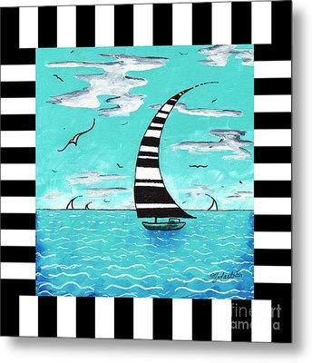 Coastal Nautical Decorative Art Original Painting With Stripes Refreshing By Madart Metal Print
