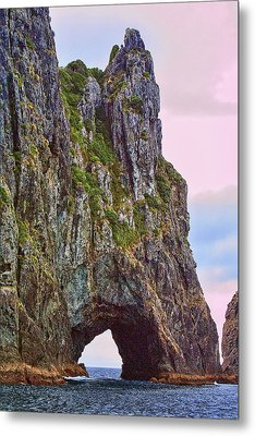 Coastal Rock Open Arch Metal Print