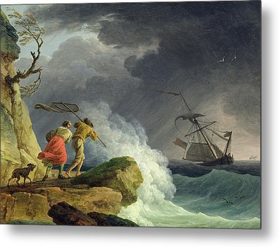 Coastal Scene In A Storm Metal Print by Claude Joseph Vernet