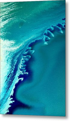 Coastal Surf Blue Abstract Waves By Kredart Metal Print by Serg Wiaderny