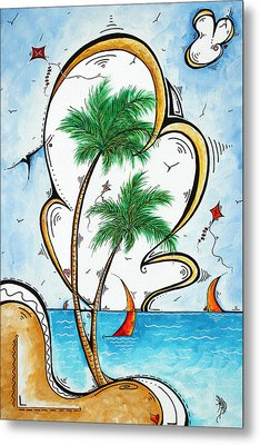 Coastal Tropical Art Contemporary Sailboat Kite Painting Whimsical Design Summer Daze By Madart Metal Print