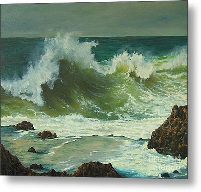 Metal Print featuring the painting Coastal Water Dance by Jeanette French