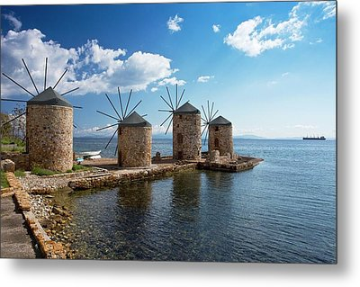 Coastal Windmills Metal Print