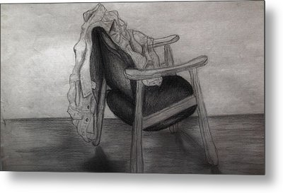 Coat In The Empty Chair Metal Print by Marjudy Royo
