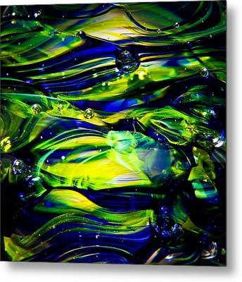 Cobalt Blue And Yellow Glass Macro Abstact Metal Print by David Patterson