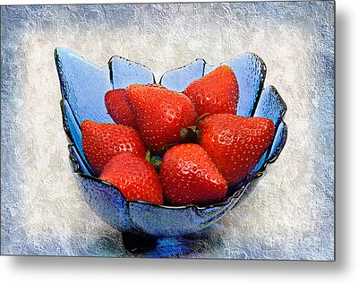 Cobalt Blue Berry Boat Metal Print by Andee Design