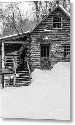 Slayton Pasture Cobber Cabin Trapp Family Lodge Stowe Vermont Metal Print by Edward Fielding